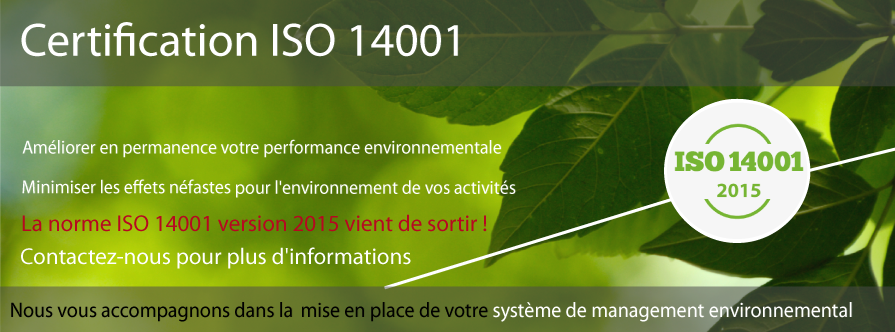 Certification ISO 14001 2015